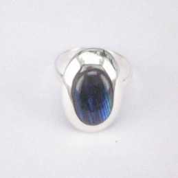 Ring Oval Blue Abalon 8x10mm.
