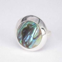 Ring Round Stone 14mm. Abalon