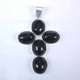 Pend. cross stone 6x8mm. Onix
