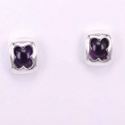 Earring Square Amethyst Stone