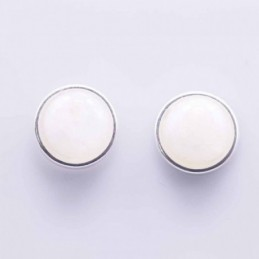 Earring Round 12mm. Moon Stone