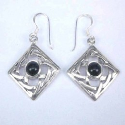 Earring Square Onix Stone