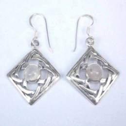 Earring Square Moon Stone