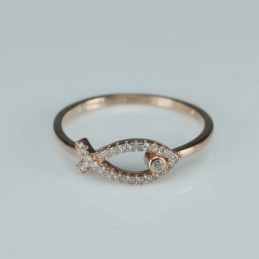 Ring   fish  3mm.  rose...