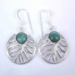 Earring Oval Malachite...