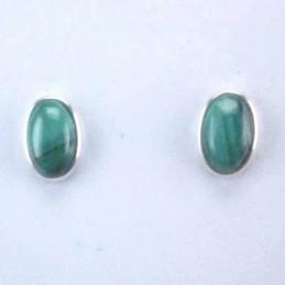 Earrings Oval Malachite Stone