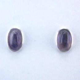 Earring Oval Ametisth Stone