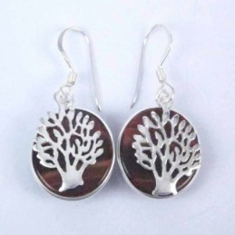 Earring Round Red Tiger Eye...