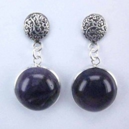 Earring Round Ametisth Stone