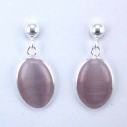 Earring Oval Cat Eye Stone