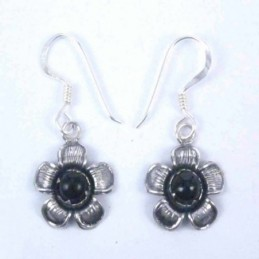 Earring Flower Hook Onix Stone
