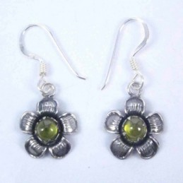 Earring Flower Hook Olivine...