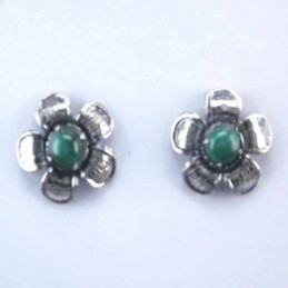 Earring Flower Malachite Stone