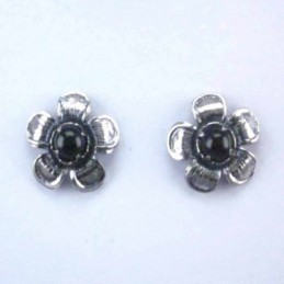Earring Flower Onix Stone