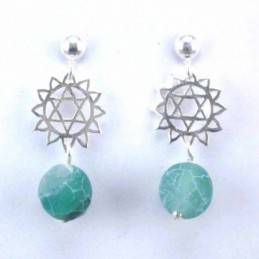 Earring Ball Agate with...