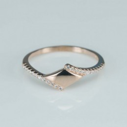 Ring   8mm.   rose  Circonia