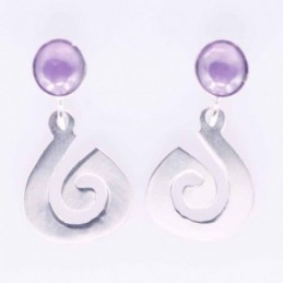 Earring Round Amethyst Stone