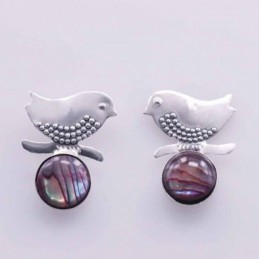 Earring Bird with 8mm. Rose...