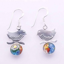 Earring Bird with 8mm....