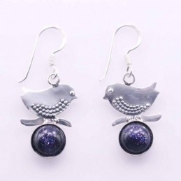 Earring Bird with 8mm. Blue...
