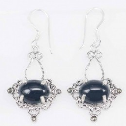 Earring Oval 17x26mm. Onix...
