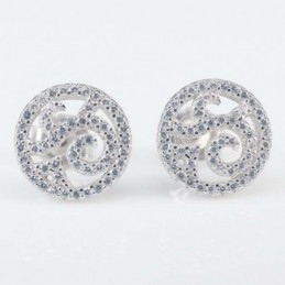 Earring Round 12mm. Circonia