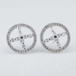 Earring Round 14mm. Circonia
