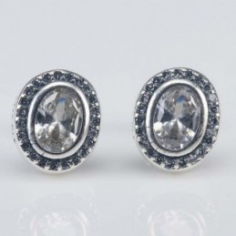Earring Oval 9x11mm.Circonia