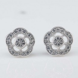 Earring Flower 9mm.Circonia