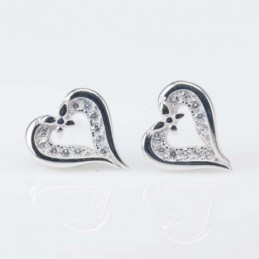 Earring  Heart 9x10mm.Circonia