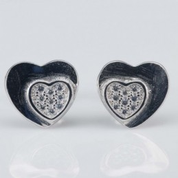 Earring  Heart 9mm.Circonia