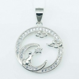 Pendant Round cat 19mm....