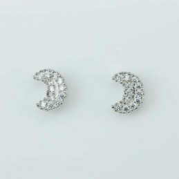 Earring Moon 6x8mm. Circonia