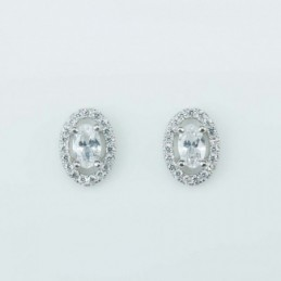 Earring Oval 8x11mm. Circonia