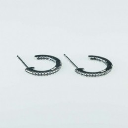 Earring Round 14mm. black...