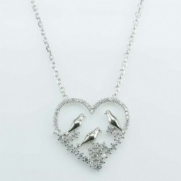 Necklace Heart Bird  22mm....