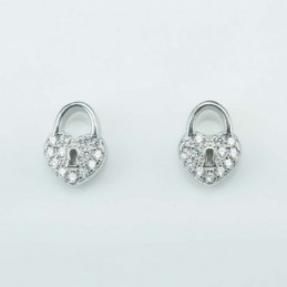 Earring  Heart lok  7x10mm,...