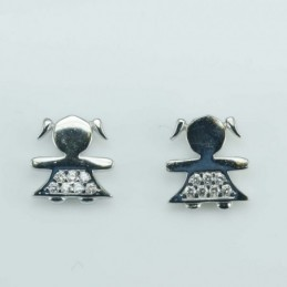 Earring  Girl 9mm.  Circonia