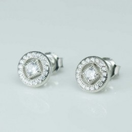Earring Round 9mm. Circonia