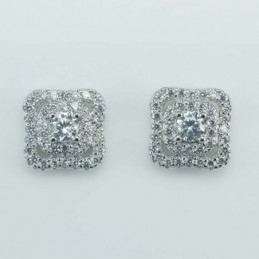 Earring Square 9mm.  Circonia
