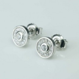 Earring Round 8mm.  Circonia