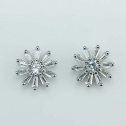 Earring Flower 10mm.  Circonia