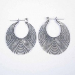Earring Oval Lines hand make