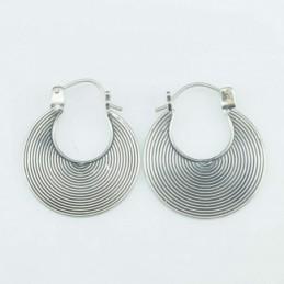 Earring Oval 21mm. Lines...