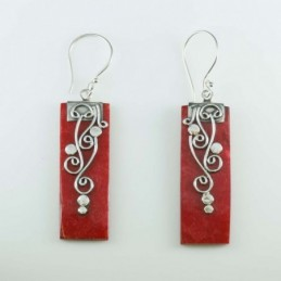 Earring Rectangle Coral