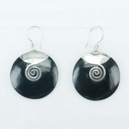 Earring Round Black Resin