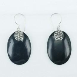 Earring Oval Black Resin