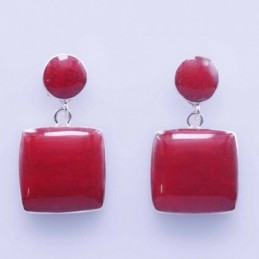 Earring Square coral