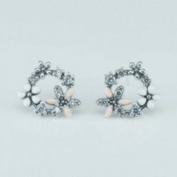 Earring Flower 14mm. Circonia
