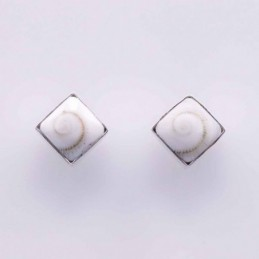 Earring Square White Shiva...